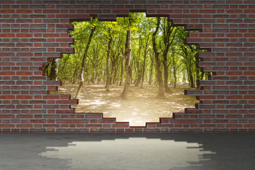 Fototapeta Vacation concept with brick wall