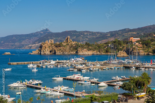 Spoed Foto op Canvas Oceanië Coast of Cefalu in Sicily, Italy
