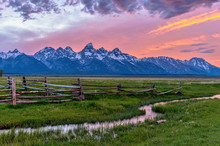 Sunset At Teton Range - A Spri...