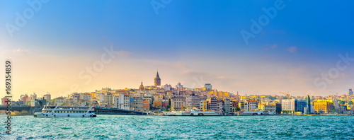 panorama of Istanbul overlooking the Bosphorus and the Galata Tower Canvas Print