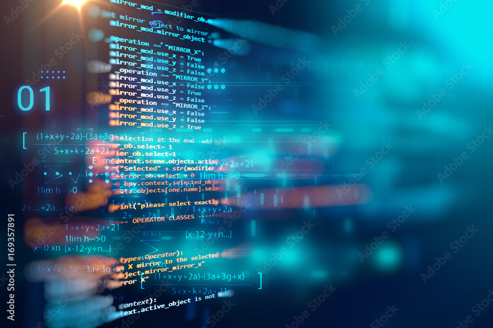 Fototapeta Programming code abstract technology background of software developer and  Computer script