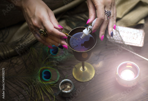 Tarot cards on fortune teller table Canvas Print