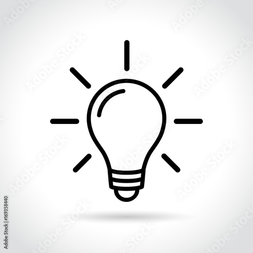 electric light bulb icon on white background Canvas Print