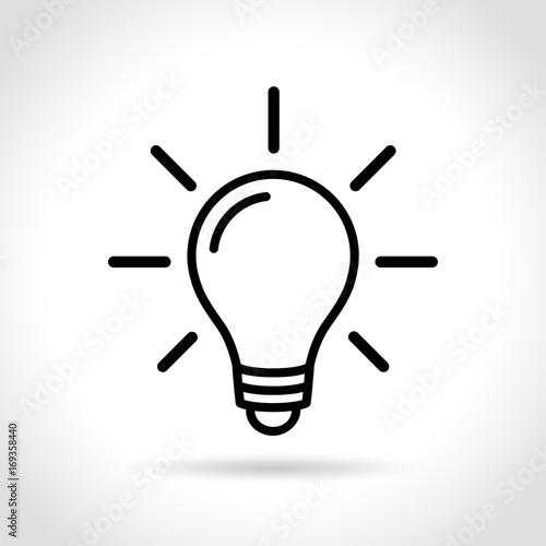 Photo  electric light bulb icon on white background