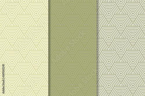 Poster Artificiel Geometric set of olive green seamless patterns for design