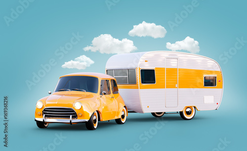 Retro car with white trailer. Unusual 3d illustration of a classic caravan. Camping and traveling concept