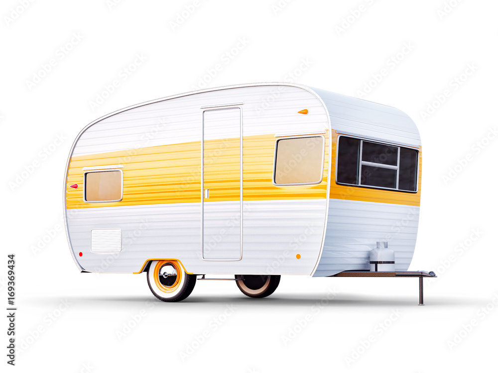 Fototapety, obrazy: Retro trailer isolaten on white. Unusual 3d illustration of a classic caravan. Camping and traveling concept