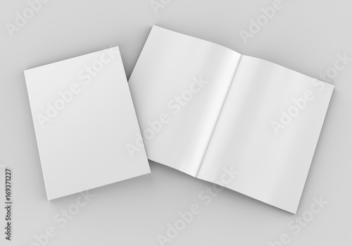 Blank white catalog, magazines,book mock up on grey background Poster