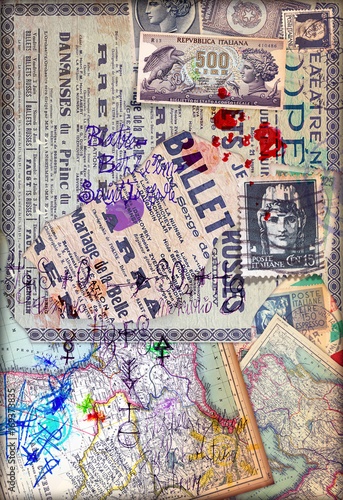 Photo sur Aluminium Imagination Patchwork con collage misteriosi,formule,mappe e francobolli antichi