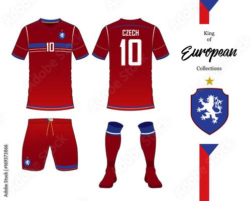 Czech Republic football national team uniform. Soccer jersey or football  kit template. Football logo in flat design. Front and rear view soccer t- shirt mock ... 646b26b58