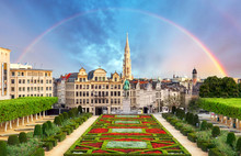 Cityscape Of Brussels With Rainbow, Belgium Panorama Skyline