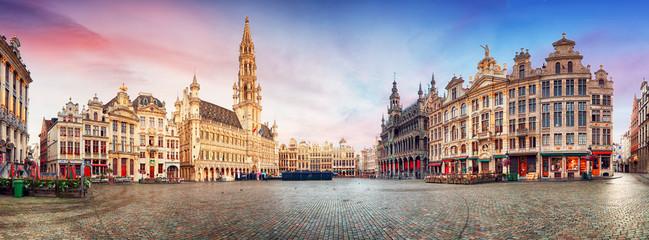 Fototapeta Brussels, panorama of Grand Place in beautiful summer day, Belgium