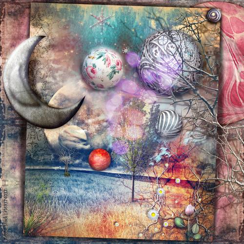 Poster Imagination Paesaggio fiabesco con luna e stelle,