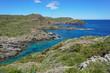 Spain Costa Brava rocky coastal landscape in the natural park Cap de Creus, Mediterranean sea, Cadaques, Catalonia