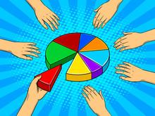 Hands Taking Pieces Of Pie Chart Vector
