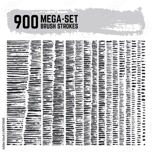 Dirty inked brushstroke vector mega super set. 900 paint brushes collection. Grunge black texture strokes Wall mural