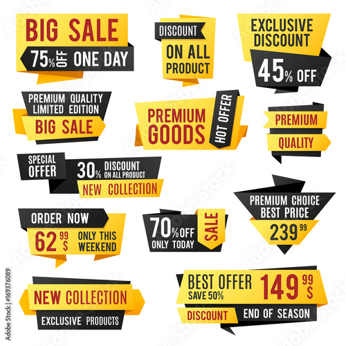 Price tag, promo banners and discount labels  Business presentation