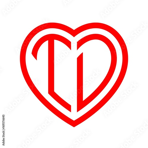 Initial Letters Logo Td Red Monogram Heart Love Shape Buy This Beauteous T D Love