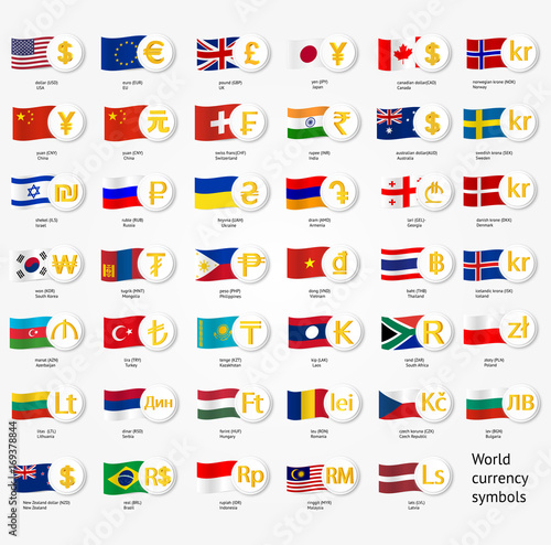 Symbols World Money With National County Flags Vector Currency