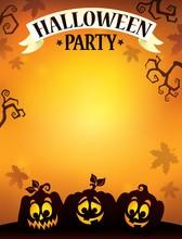 Halloween Party Sign Theme Ima...