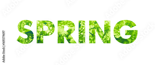 Spring word filled with pho...