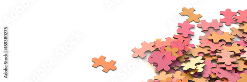 Fotomural  Jigsaw background, teamwork and strategy concepts, original 3d rendering