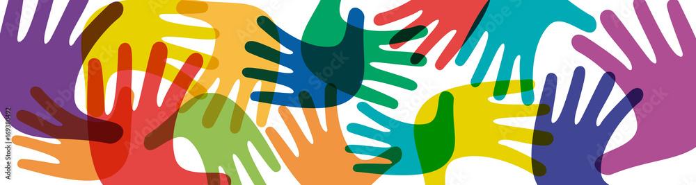 Fototapeta Vector banner teamwork, open hands. Solidarity concept, background