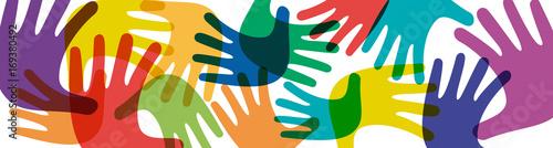 Fotografie, Obraz  Vector banner teamwork, open hands