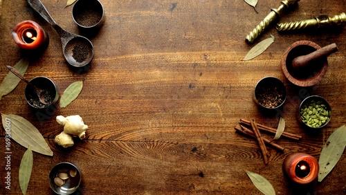 Poster Kruiden スパイスと木製すり鉢