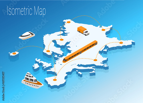 Obraz Map Europe isometric concept. - fototapety do salonu