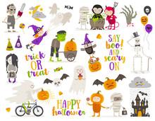 Set Of Halloween Sign, Symbol,...