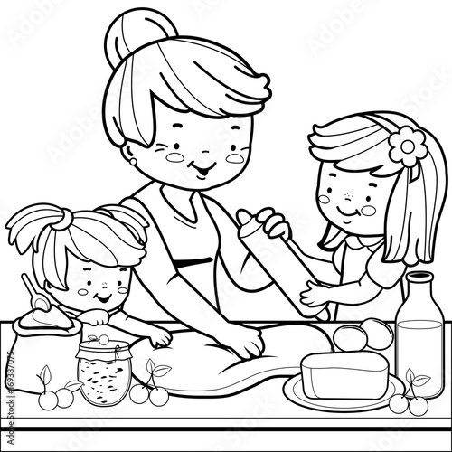 - Grandmother And Children Cooking In The Kitchen. Coloring Book Page - Buy  This Stock Vector And Explore Similar Vectors At Adobe Stock Adobe Stock