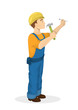 Builder with hammer.