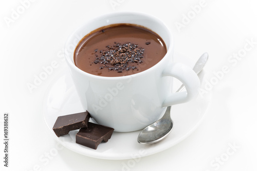 Staande foto Chocolade hot chocolate in a cup, closeup, top view