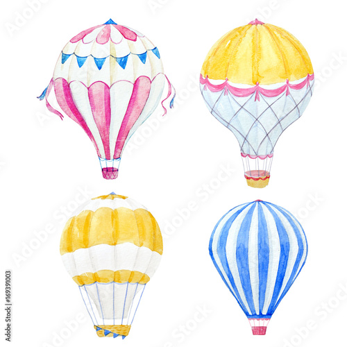 Fényképezés  Watercolor air baloon set