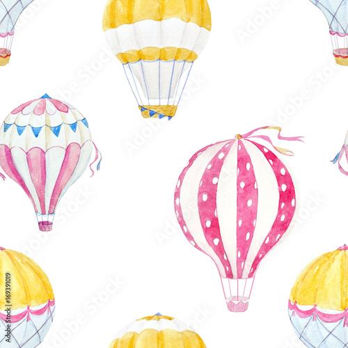 Fényképezés  Watercolor air baloon pattern