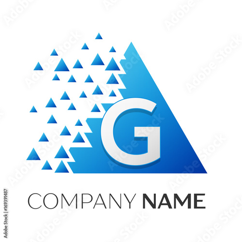 Realistic Letter G Vector Logo Symbol In The Colorful Triangle With