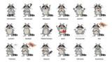 Fototapeta Fototapety na ścianę do pokoju dziecięcego - Raccoon emotions set.