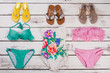 Flip flops and bikini set.