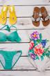 Set of women beach accessories.