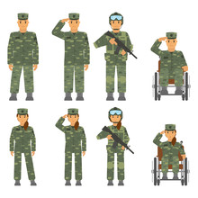 Vector Set Of Soldier Man, Wom...