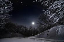Winter's Landscape In The Night Of Tuscany's Hills. Pian Della Rasa, Cantagallo, Toscana, Italia