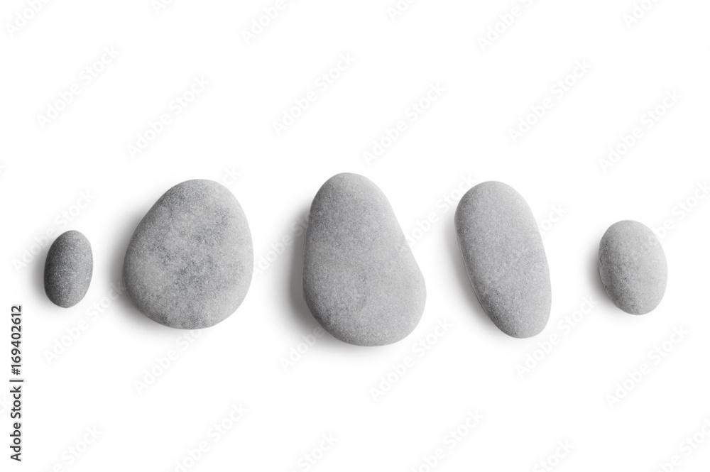 Fototapety, obrazy: Grey pebbles on white background