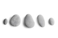 Grey Pebbles On White Background