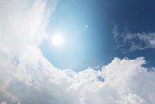 Blue Cloud Sky With Sun