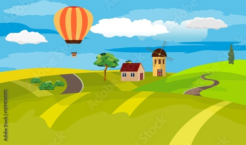 Keuken foto achterwand Turkoois Countryside landscape, green hill, mill, house, air baloon, village view