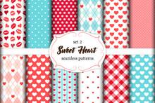 Cute Set Of Scandinavian Sweet Heart Seamless Patterns With Fabric Textures