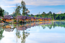 Small Village At The Water In Thailand