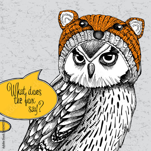 Owl in a fox muzzle hat. Vector illustration.