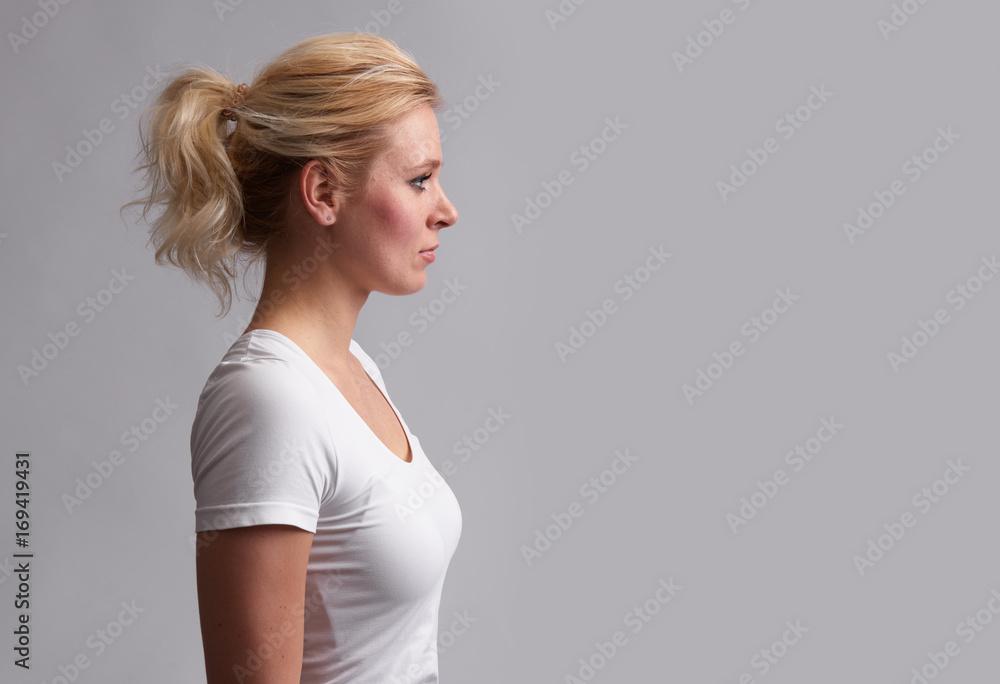 Fototapeta profile portrait of pretty woman